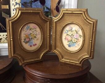 Vintage Picture Frame, Vintage Homco Pictures, Folding Frame, Wall Decor, Vintage Gold Frame