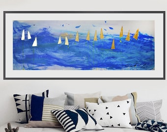 Sea art, Large Painting, Ships , sea, nautical, blue painting, Abstractionism, Abstract Impressionism, Original, Avant-gardism, avant-garde