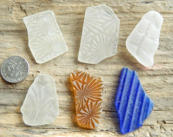 Genuine beach found patterned sea glass for jewellery and crafts