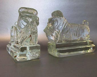Awesome Pair of Heavy Glass Scottie Dog Bookends or Doorstops