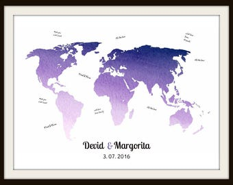 Wedding World Map Signature Guest Book, Bride and Groom Gift, Wedding Anniversary Gift, Watercolor Map Alternative Guest Book - 47977C