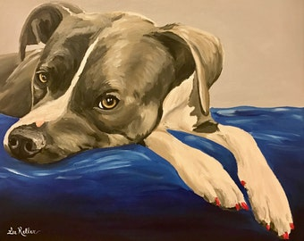 Pit Bull art print from original pit bull painting, pit bull prints. pit bull art, pit bull decor