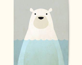 Polar Bear nursery print, animal print, bear prints, nursery art, nursery wall art, nursery printable, polar bear, polar bear art.