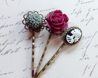 Clips She Skull And Magenta Rose Hair Clips