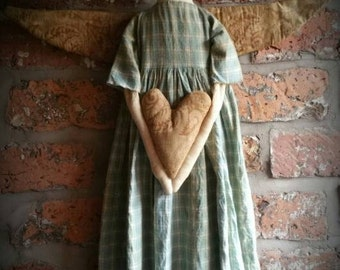 Folk Art Angel with Antique Quilt Wings & Heart
