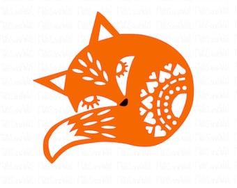 Fox folk style svg/png/dxf cricut/silhouette digital cutting file/fox svg/folk art fox/animal svg/folk style fox svg/wood/sleeping fox/HTV
