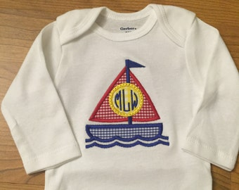 Monogrammed Sailboat Onesie or Shirt, applique, personalized