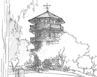 Ink sketch of the Pagoda in Patterson Park