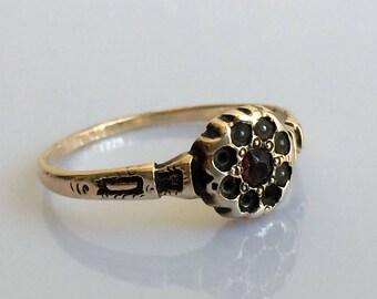 Georgian Garnet and Seed Pearl Ring in Yellow Gold