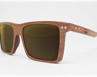 Honduran Rosewood Flash Gold Wooden Sunglasses