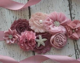 Maternity Sash, classic mauve Sash #3,  flower Belt, maternity sash, wedding sash , flower girl sash belt