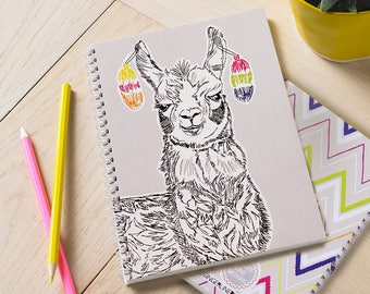 Llama Patterned Notebook Journal, A5 Llama Notebook