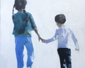 Brother Sister Painting Brother Sister Art PRINT Brother and Sister - Art Print - from original painting by J Coates