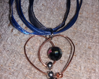 Copper heart ribbon necklace