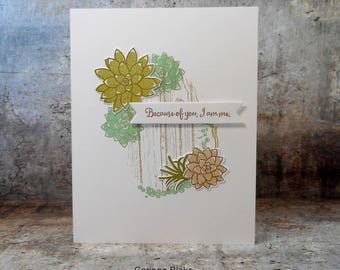 Modern Succulent blank card for appreciation or Mother's Day