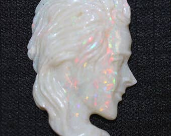 Loose natural untreated Multi-color Play Australian Opal Women carving 33.41ct