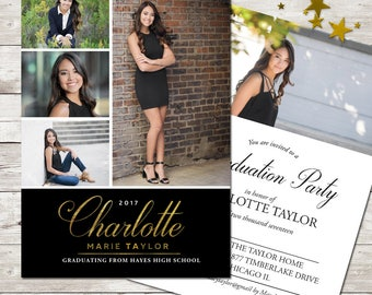 Multiple Photos Graduation Announcement Formal Graduation Invitation Girl with Photos Senior Party Invite Printed or Digital grad Invitation