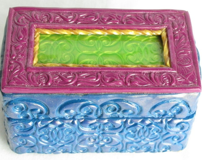 Handcrafted Wooden & Deep Blue  Polymer Clay Treasure and Gift Box