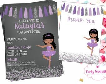 Ballet Recital Invitation - Ballerina Dance Invitation - Dance Digital Invitation - You Print - Purple and Silver Ballet Invitation