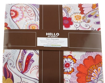 """Quill Persimmon Colorstory 10"""" Squares by Valori Wells"""