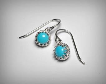 Genuine Turquoise Earrings, Sleeping Beauty Turquoise Dangle Earrings, Sterling Silver, Blue Turquoise Drop Earrings, Southwestern Jewelry