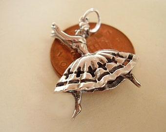 Sterling Silver Moving Flamenco Dancer Charm