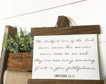 Cotton Canvas Print Hanging Frame | Lamentations 3 | Farmhouse  | Home Decor Gift | Wall Art Decor | Great is Your Faithfulness
