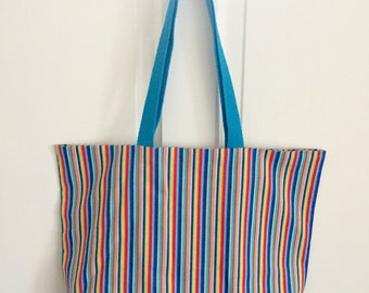 Stripe Tote Bag Library Tote Large Tote Bag Birthday Beach Tote Christmas Gifts for Boys Kids Library Bag Stripe Bag Shop for a Cause