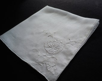 Bridal Hanky, Vintage, White, Embroidery, Madeira, hankie, handkerchief, bridal accessory, bouquet.