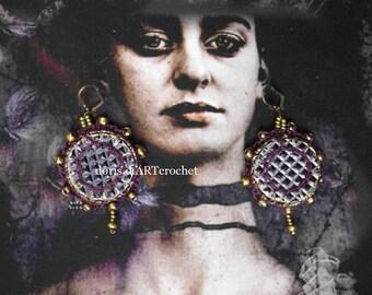 Playfull art Earrings fantasy EarringsDeco Earrings Frida Kahlo Earrings large Earrings eye-catching, Glamour, Chandelier Earrings exclusive