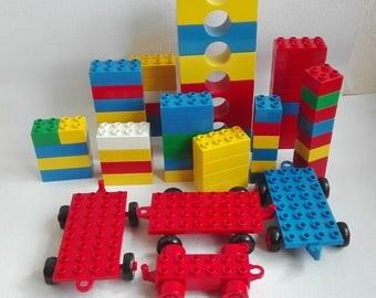 Lego Duplo , Bricks, Carts, 64 pieces, Vintage 1990's