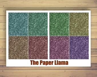 56 Jewel Toned Glitter Headers - Planner Stickers - 016