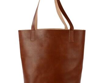 Leni handbag tote bags leather, cognac