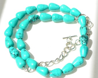 Vintage Blue Turquoise Gemtone Bead Silver Tone Chain Necklace