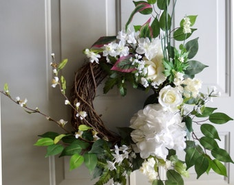 Door Wreath Spring Summer White Hydrangea Real Touch Rose Wreath Ready to Ship