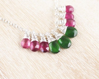 Watermelon Tourmaline & Sterling Silver Necklace. Pink and Green Gemstone Cluster Pendant. Multi Tourmaline Necklace. Wire Wrapped Jewelry