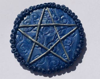 Pagan pentagram altar tile, wiccan altar tool, polymer clay