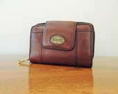 Vintage Leather Fossil Wallet, Pebble Brown Leather Multi Compartments Wallet with Brass Hardware, Zipper Snap Button Cash & Change Wallet