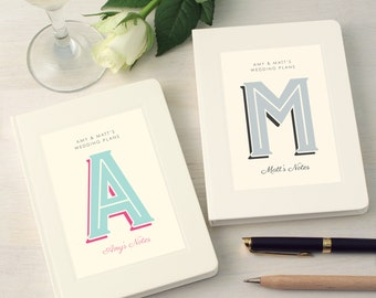 Set Of Two Personalised Wedding Engagement Notebooks