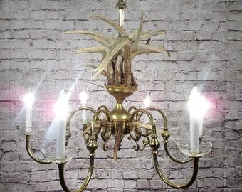 Vintage Antique Chandelier Light Fixture Brass Antler Deer Buck Lamp hunter