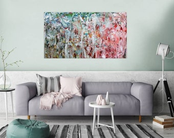 Original abstract artwork on canvas ready to hang 80x140cm #789