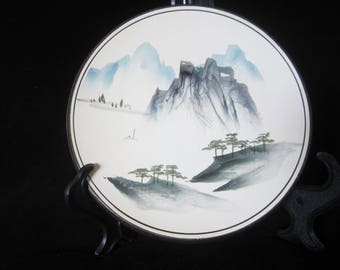 Asian Motif Cabinet/Wall Plate - hand-painted with a tranquil scenic watercolor view.  Mountain range, hillsides, trees facing lake below!