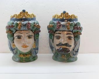 coppia vasi ceramica Caltagirone, pair ceramic vases Caltagirone, face shaped vases of man and woman, painted and produced handicraft Italy