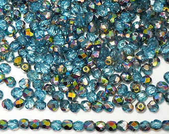 300 Aqua Vitrail coated 6mm, Preciosa Czech Fire Polished Round Faceted Glass Beads, Czech Glass Fire Polish Beads, loose
