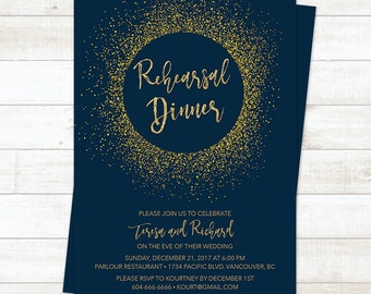 Navy and Gold Rehearsal Dinner Invitation, Navy Gold Glitter Wedding Rehearsal Dinner, Rehearsal Dinner Invitation