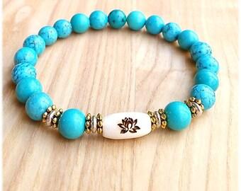 Turquoise Lotus Flower Wrist Mala, Spiritual Gifts Jewelry, Yoga Mala Bracelet; Item:MB-82a