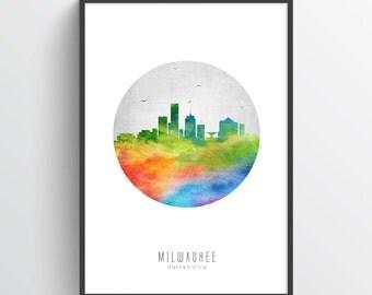 Milwaukee Wisconsin Skyline Poster, Milwaukee Art, Milwaukee Cityscape, Milwaukee Decor Home Decor, Gift Idea, USWIML20P