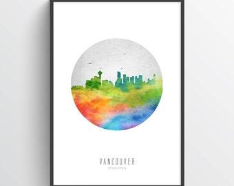 Vancouver Poster, Vancouver Skyline, Vancouver Cityscape, Vancouver Print, Vancouver Art, Vancouver Decor, Home Decor, Gift Idea, CABCVA20P