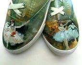 Custom Painted shoes Classic Art Painted Shoes Degas Artwork on Shoes, Hand Painted shoes Wearable Art Custom Art Shoe Art Made to Order