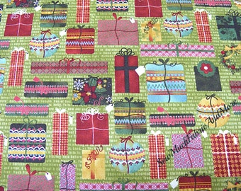 Moda Jovial Wrapped Christmas Gifts Fabric~By the yd~Wreaths~Packages~Pattern 30265~Holiday
